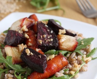 Pearl barley and roasted beetroot salad with maple balsamic dressing