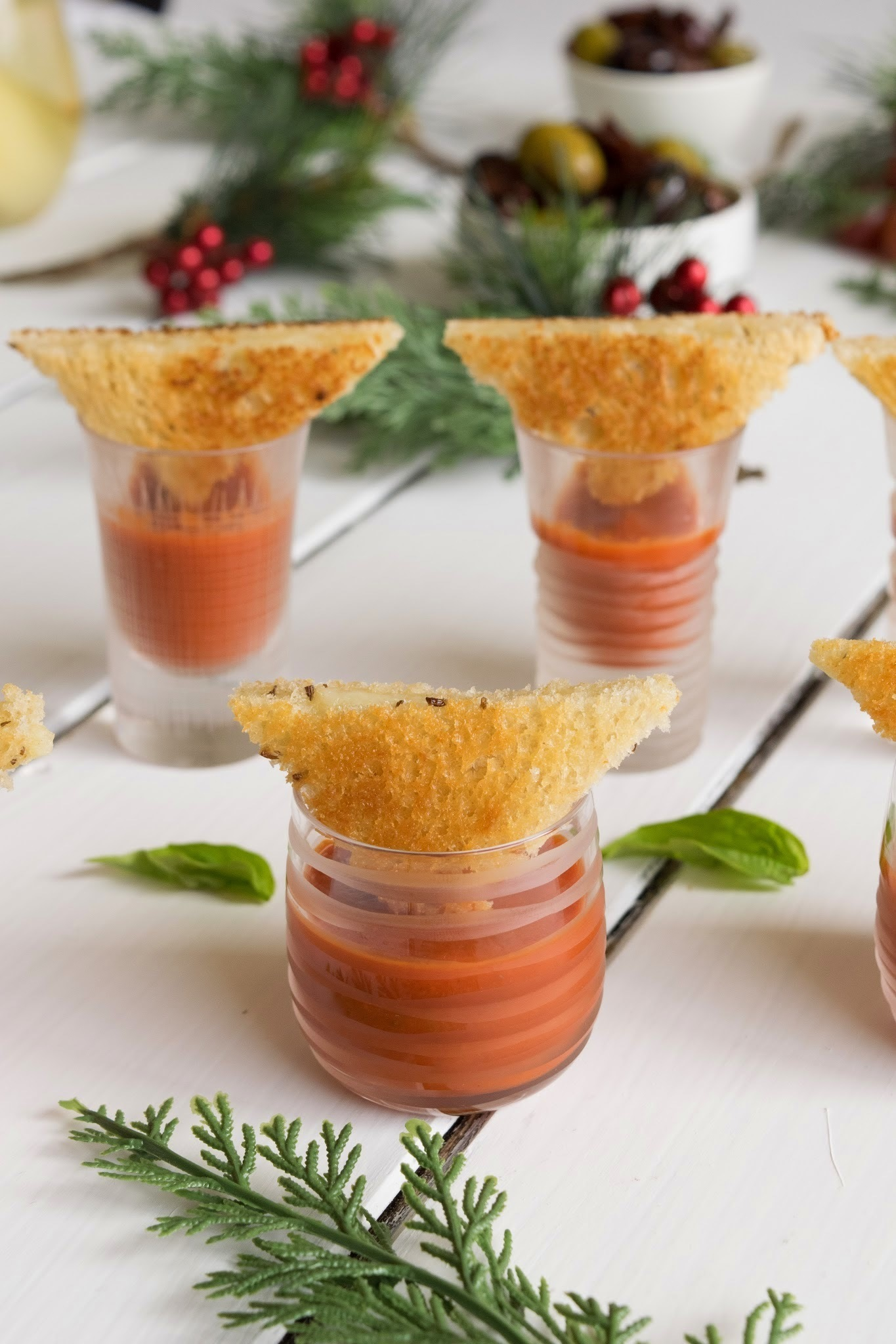 Tomato soup shooters with mini grilled cheese