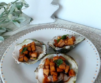 Huitres aux pommes Granny Smith et balsamique (Oysters  with Granny Smith apple and balsamic)