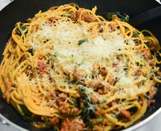 #308 Spinach and Sausage Spaghetti, By: V