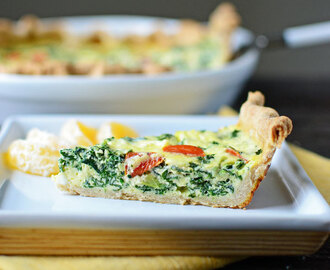 Spinach and Tomato Quiche with Whole Wheat Crust