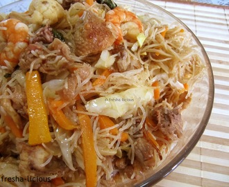 Bihon Guisado:  With Chicken & Shrimp