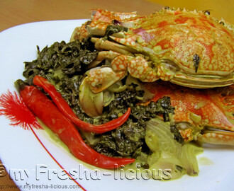 Taro Leaves and Crabs in Coconut Milk