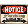 NOTICE Matchless Motorcycles PARKING ONLY RETRO NOTSTALGI METALL PLÅTSKYLT