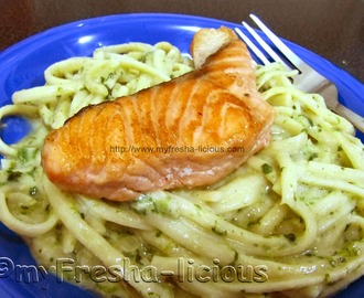 Smoked Salmon & Creamy Spinach Pesto Pasta