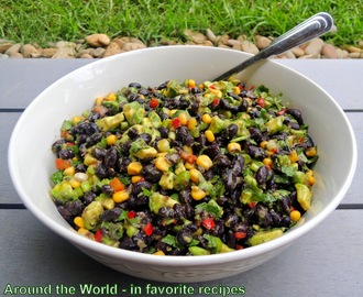 Mexican Black Bean, Corn, Capsicum and Avocado Salad