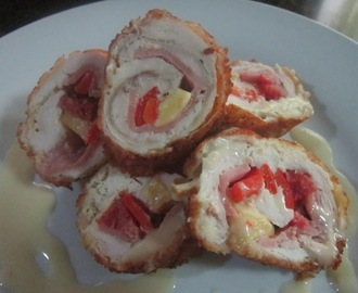 CHICKEN CORDON BLEU with WHITE GARLIC SAUCE
