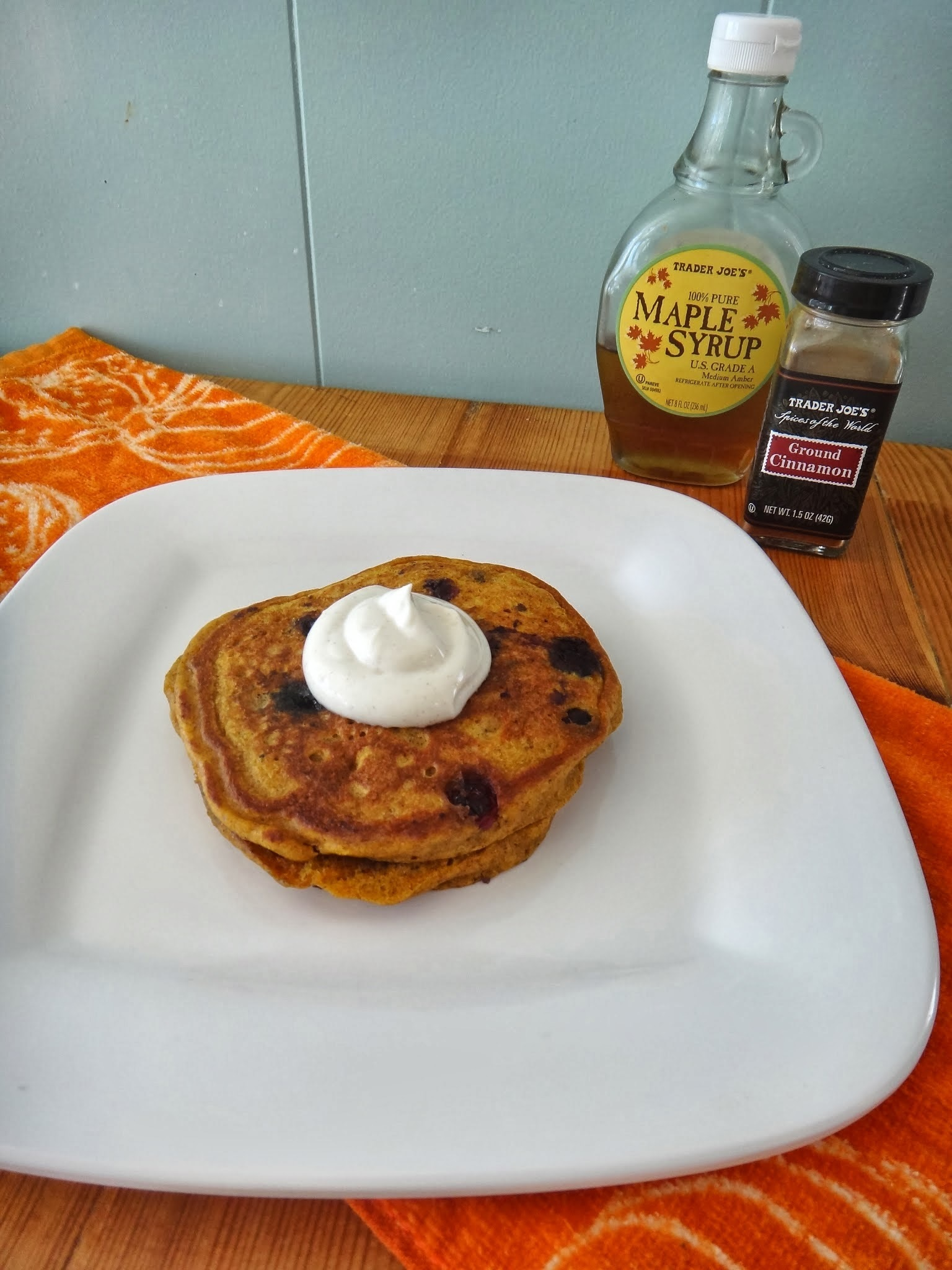 Healthy Pumpkin Blueberry Pancakes with Maple Cinnamon Greek Yogurt