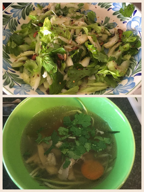 Celery Salad with Dates, Almonds and Shaved Parmesan - Followed by Gingery Chicken Soup over Zucchini Noodles