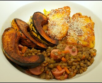 Sausage and lentils with roasted squash