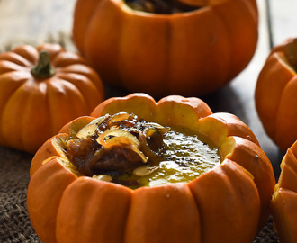 Curried Pumpkin Soup with Maple Ginger Caramelized Onions