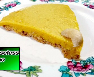 How to Make Mango Cheesecake without Cream Cheese at Home | Cheeseless Mango Cake Recipe