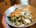 Pappardelle Pasta with Spinach and Almonds in a White Wine Cream Sauce