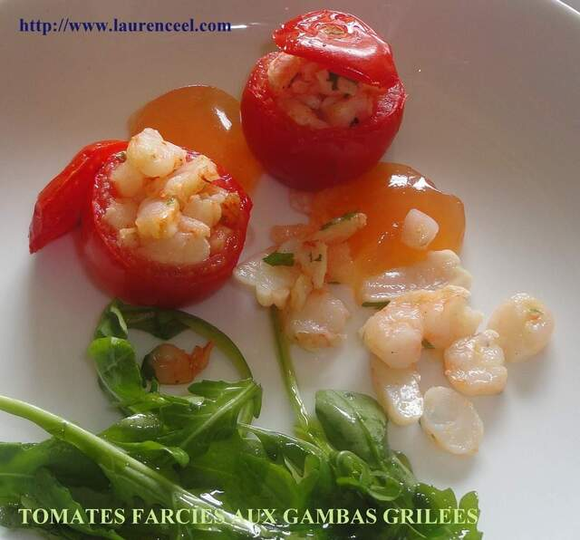 TOMATES FARCIES AUX GAMBAS GRILEES