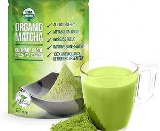 Kiss Me Organics Matcha Green Tea Powder PLUS 26 Recipes Featuring Matcha!