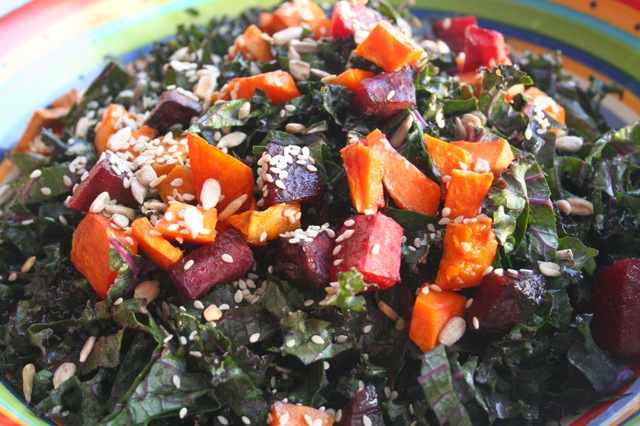 Shredded Kale, Sweet Potato and Beet Salad with Cilantro Lime Dressing