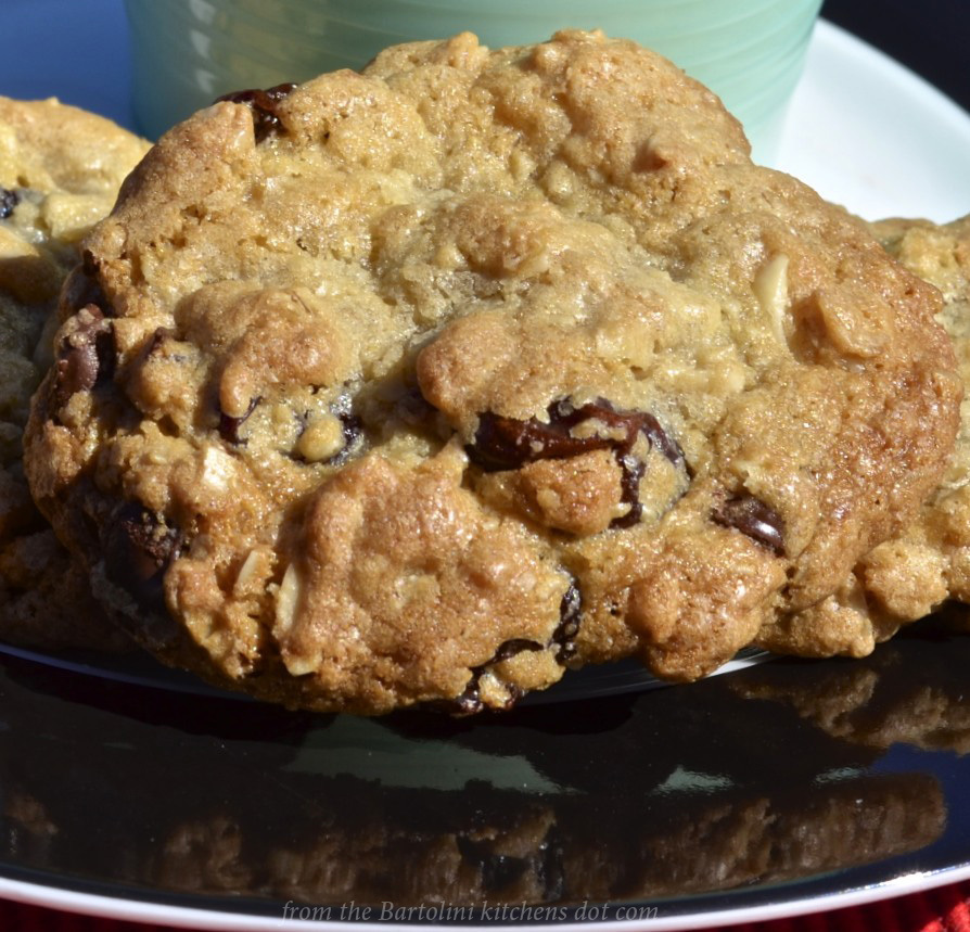 Oatmeal Cookies with Two Chocolates, Dried Cherries, and Almonds