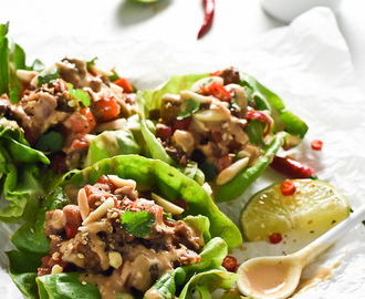 Thai Lettuce Wraps with Ginger Lime Satay