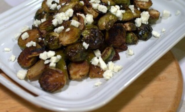 Roasted Brussels Sprouts And Apples With Balsamic Glaze
