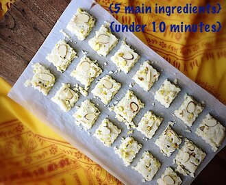 Barfi {Milk Fudge} – 5 Ingredients & Quick to Make with Milk Powder