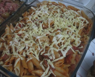 PENNE PASTA with ITALIAN SAUSAGES, HAM, PEPPERONI in ITALIAN PASTA SAUCE