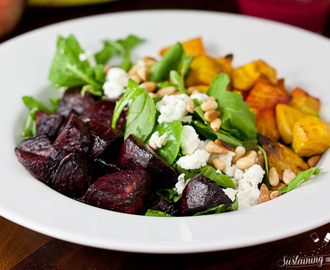 Roasted Beet Salad With Goat Cheese and Beet Pesto Vinaigrette + Meal Plan Monday #2