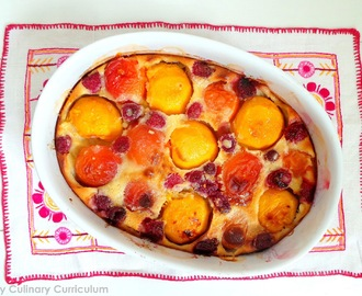 Clafoutis aux pêches, abricots et framboises (Peaches, apricots and raspberries clafoutis)
