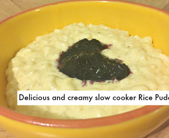 Homemade delicious and creamy slow cooker rice pudding….