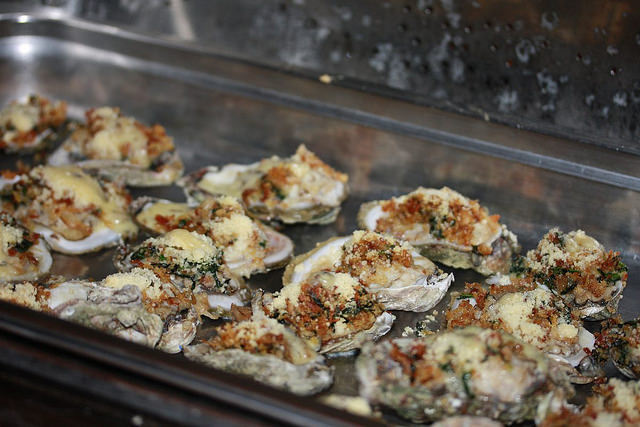 Conecuh Sausage topped Oysters Rockefeller