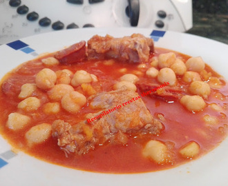 Potaje de garbanzos, costilla y chorizo thermomix