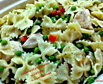 Chicken, red peppers, peas w/farfalle in a light and creamy sauce