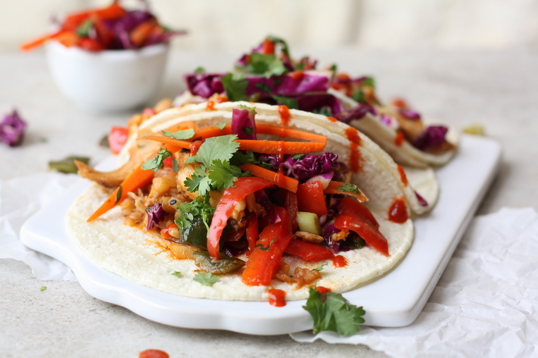 Saucy Asian Chicken Sriracha Tacos with Crunchy Slaw