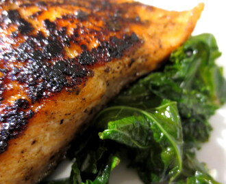 Blackened Trout and Sauteed Kale with Ginger
