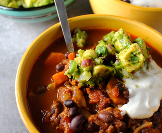 Vegetarian Chili with Avocado Salsa and Sour Cream