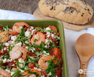 Firecracker Shrimp, Orzo and Feta in Tomato Sauce