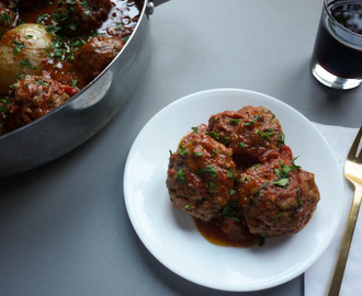 Ricotta Meatballs with Tomato Butter and Onion Sauce