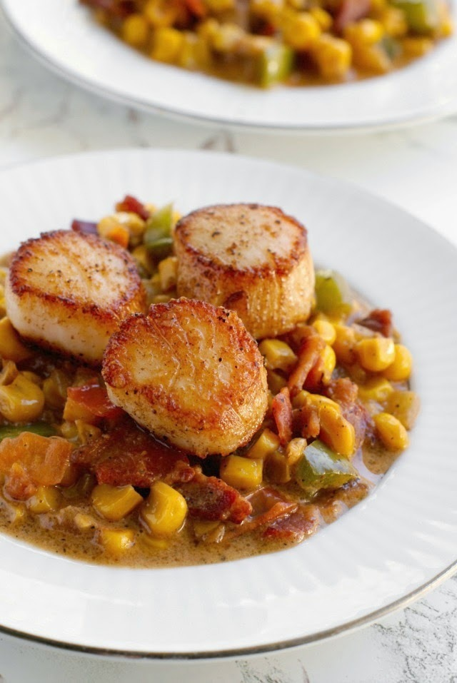 Seared Scallops with Creamy Bacon Corn Sauce