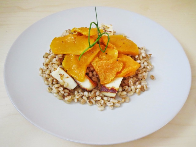 BARLEY RISOTTO WITH ROASTED BUTTERNUT PUMPKIN AND GRILLED CHEESE