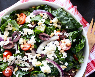 "Detoxifying Greek Salad with Kale & Cauliflower ""Feta"""