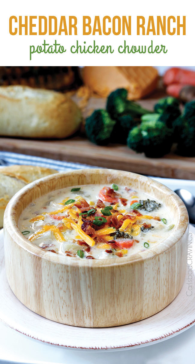 Cheddar Bacon Ranch Potato Chicken Chowder (Slow Cooker)