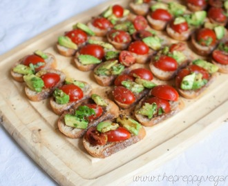 Avocado-Tomato Bruschetta + Vegan Caprese Sandwiches + GIVEAWAY!