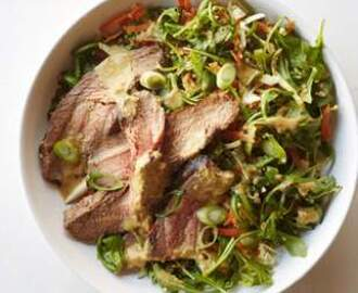 Grilled Flank Steak Salad with Ginger-Wasabi Dressing