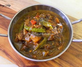 Kathirikai Gothsu ( Pressure cooker method ) - Brinjal Gothsu side dish for Pongal.