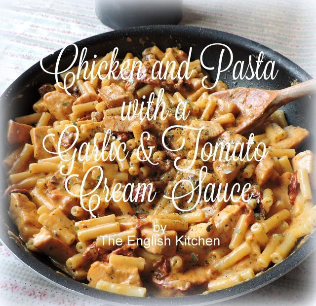 Chicken and Pasta in a Garlic and Tomato Cream Sauce