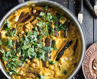Chickpea, Tofu, and Eggplant Curry