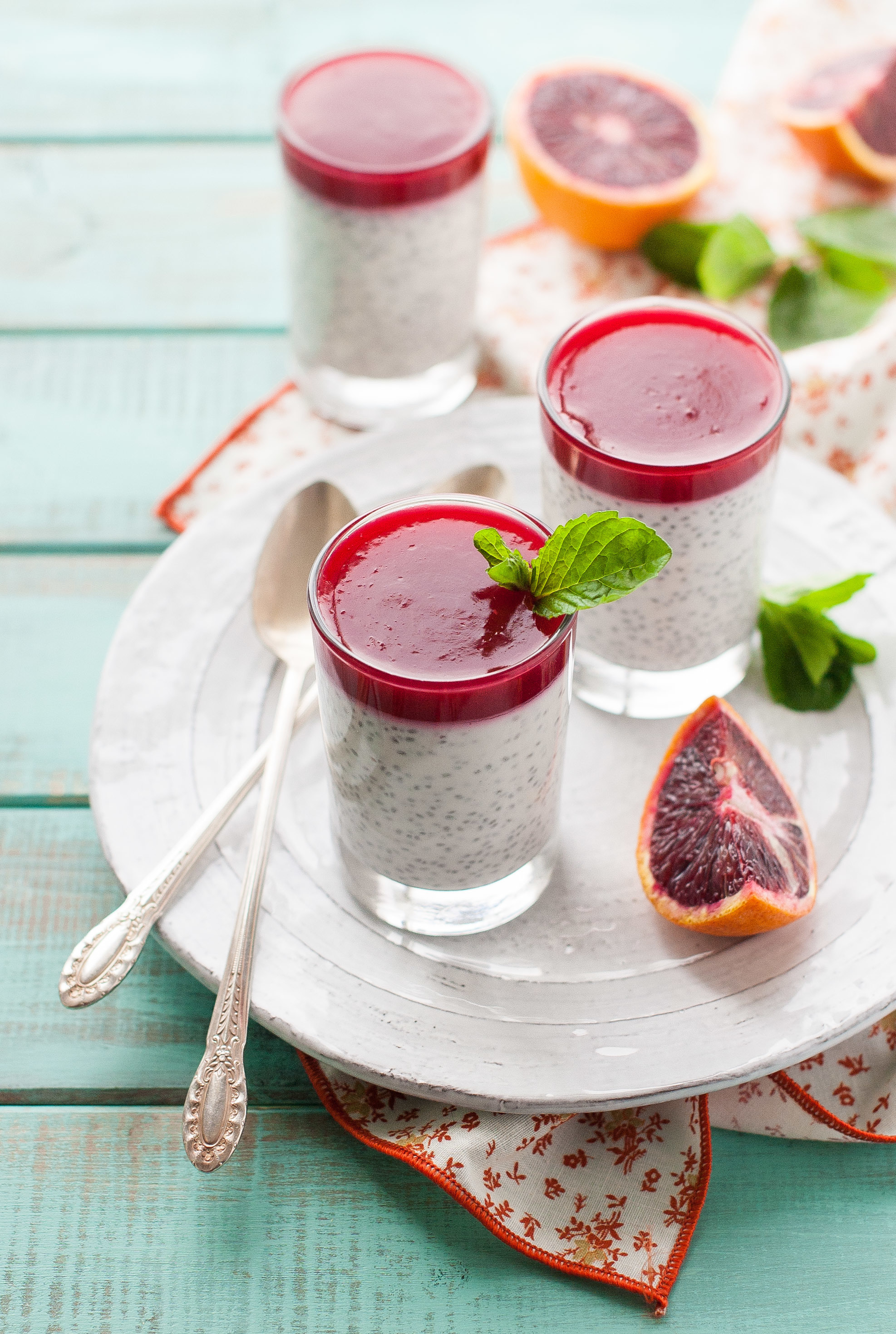 Coconut Chia Pudding with Blood Orange Gelee