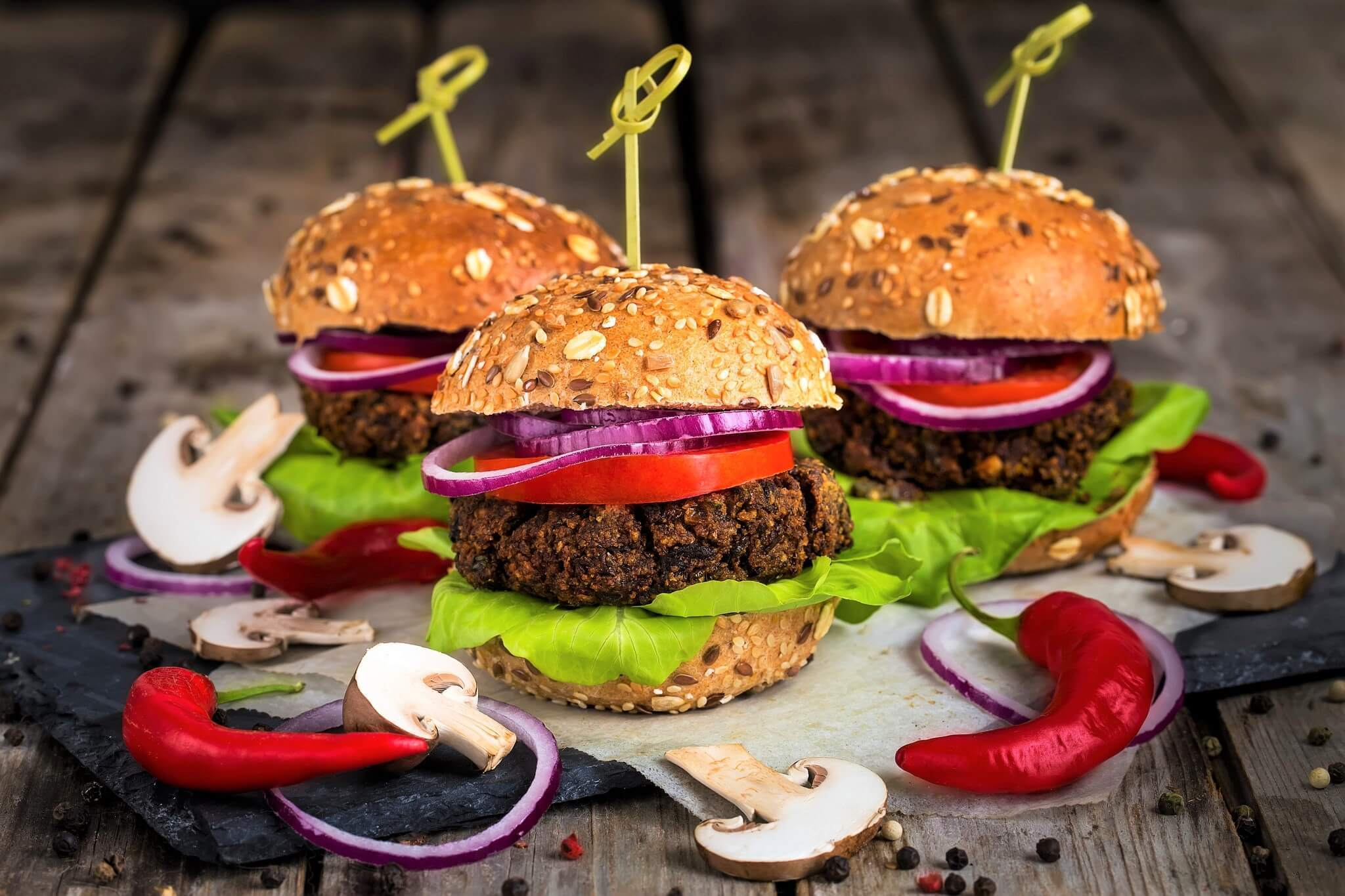 Veggie Burgers With Green Lentils And Mushrooms