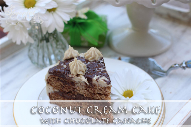 Coconut Layer Cake with Chocolate Ganache Center {paleo, dairy, refined sugar & gluten free}