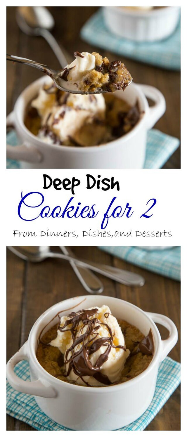 "Deep Dish Chocolate Chip Cookies For Two ""Pizookies"""