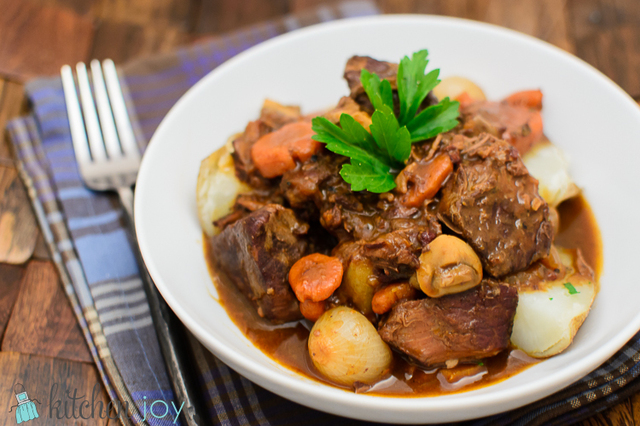 Boeuf Bourguignon (Beef Stew with Red Wine and Mushrooms)